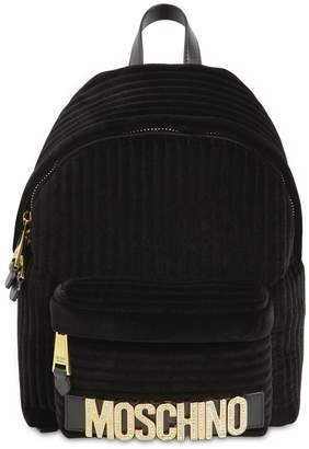 Moschino CRYSTAL LOGO VELVET BACKPACK