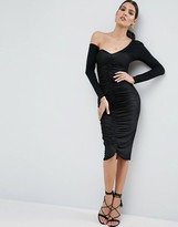 Asos Ruched Front Midi Bodycon Dress