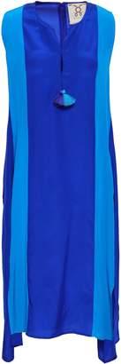Figue Karina Tasseled Two-tone Silk Dress