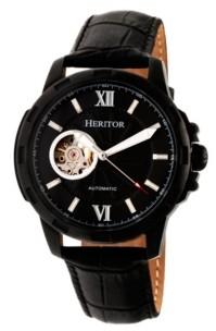 Heritor Automatic Bonavento Black Leather Watches 44mm