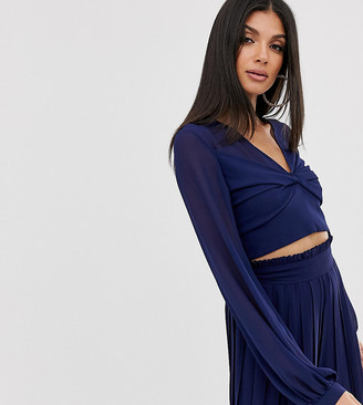 TFNC Tall Tall knot front long sleeve wrap two-piece crop top in navy