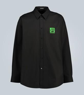 Balenciaga Green Logo long-sleeved shirt