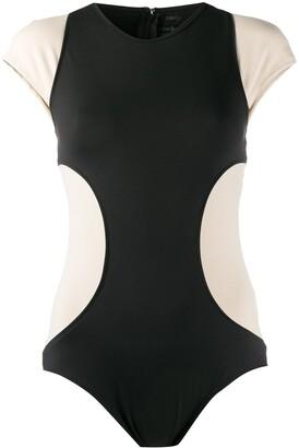 Esteban Cortazar Colour-Block Cap Sleeve Bodysuit