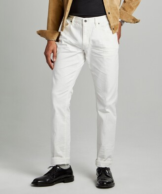 Todd Snyder Slim Fit 5-Pocket Garment-Dyed Stretch Twill in White
