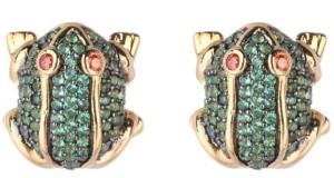 Noir Green Cubic Zirconia Frog Stud Earring