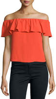 Veronica Beard Coast Ruffled Off-the-Shoulder Top, Red