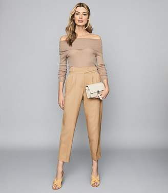 Reiss TIMA OFF-THE-SHOULDER KNITTED TOP Nude