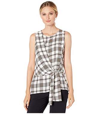 Vince Camuto Women's Sleeveless Asymmetrical Tie Front Plaid Blouse