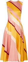 Roksanda Lucine Striped Hammered Silk-satin Midi Dress - Yellow