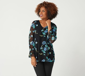 Susan Graver GRAVER Fully Lined Embroidered Mesh Top
