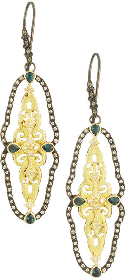 Armenta Two-Tone Open Scalloped Drop Earrings