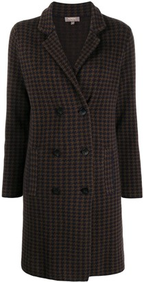 N.Peal Dogtooth Double-Breasted Cashmere Coat