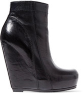 Rick Owens Glossed-leather wedge ankle boots