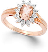 Macy's Diamond Accent and Morganite (5/8 ct. t.w.) Ring in 10K Rose Gold