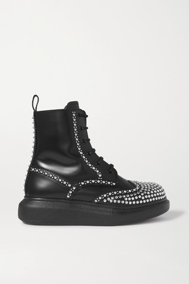 Alexander McQueen Studded Leather Exaggerated-sole Ankle Boots - Black
