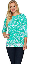 As Is Susan Graver Printed Liquid Knit 3/4 Sleeve Top