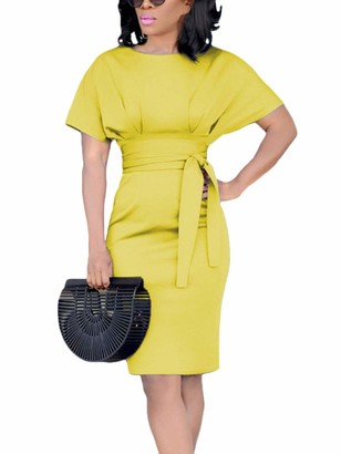 ORANDESIGNE Summer Dresses for Women Summer Elegant Short Sleeve Midi Dresses Slim Fit Casual Pencil Dress with Belt Yellow UK 16