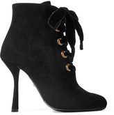 Lanvin Lace-up Suede Ankle Boots - Black