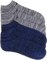 adidas Men's Blue Stripe Men's's No Show Socks - 6 Pack -Grey