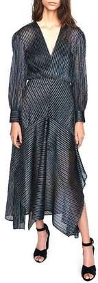 Maje Rainbow Striped Metallic Midi Dress