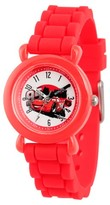 Cars Disney Lightning McQueen Boys' Red Plastic Time Teacher Watch, Red Silicone Strap, WDS000151