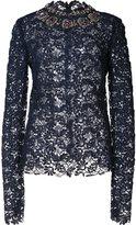 Monique Lhuillier embroidered lace blouse