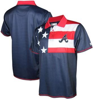 Stitches Men's Navy/Red Atlanta Braves Stars & Stripe Polo
