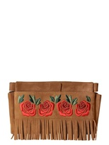 Moschino Lillie Roses Embroidery Suede Clutch