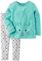 Carter's 2-Pc. Cat Face Cotton Tunic and Leggings Set, Toddler Girls (2T-4T)