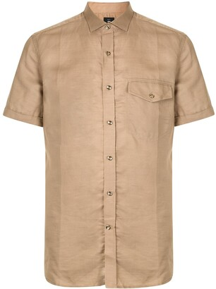 Kent & Curwen Crinkled-Effect Front Pocket Shirt