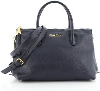 Miu Miu Convertible Madras Side Zip Satchel Grainy Leather Small