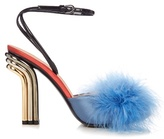 Marco De Vincenzo Feather-embellished satin sandals