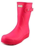 Hunter Short Wedge Sole Women Round Toe Synthetic Pink Rain Boot.