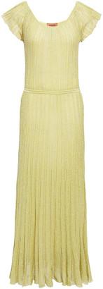 Missoni Pleated Metallic Crochet-knit Maxi Dress