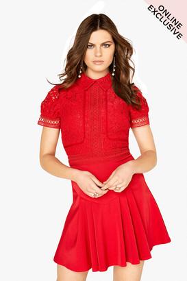 Little Mistress Red Lace Mini Dress