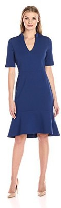 Lark & Ro Amazon Brand Women's Half Sleeve V-Neck Dress with Mock Collar