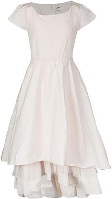 Jean Paul Gaultier Junior Gaultier Couture Blush Pink Lurex Dot Tiered Cap Sleeve Dress 14 Yrs