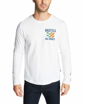 Nautica Men's Crewneck Long Sleeve T-Shirt in Sail Boat Graphic