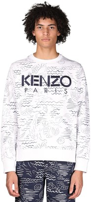 Kenzo Logo + Marina Print Cotton Sweatshirt