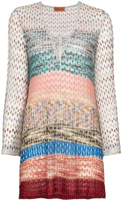 Missoni Mare lace-up crochet-knit kaftan