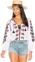 March 11 Long Sleeve Embroidered Blouse in White