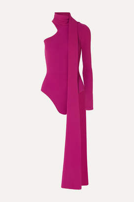 16Arlington One-shoulder Tie-neck Ribbed Stretch-knit Bodysuit - Magenta