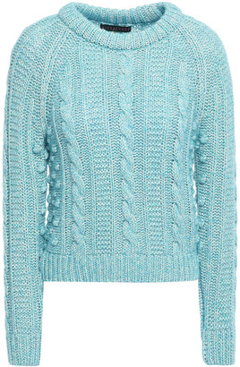 ALEXACHUNG Pompom-embellished Cable-knit Cotton-blend Sweater