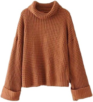 Goodnight Macaroon 'Retta' Cognac Ribbed Cropped Turtleneck Sweater