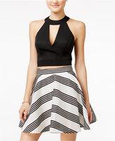 City Studios Juniors' 2-Pc. Striped Fit & Flare Dress