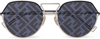Fendi Round-Frame Logo-Print Silver-Tone Sunglasses