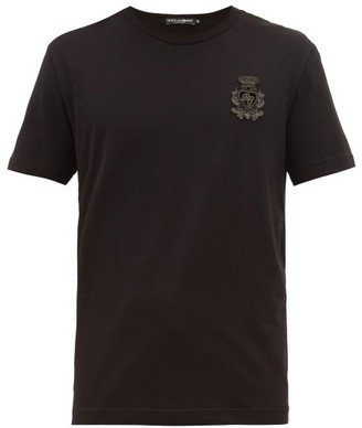 Dolce & Gabbana Zardozi-embroidered Cotton T-shirt - Mens - Black