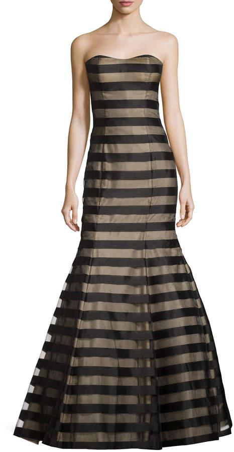 La Femme Strapless Fil Coupe Mermaid Gown, Black/Nude