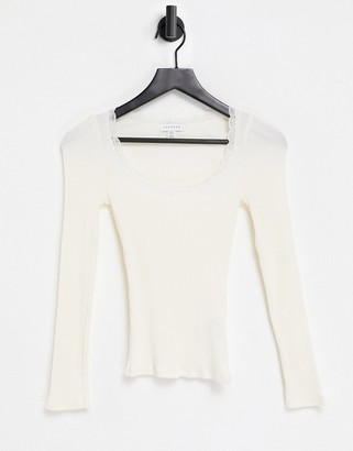 Topshop long sleeve lace trim top in neutral