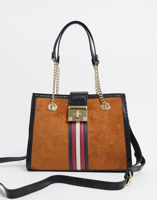 Aldo tote bag with stripe detail in rust